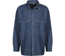 Big Shirt Herren Langarhed blau