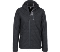 Hooded Zipper chwarz meliert