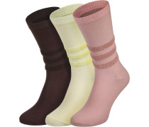 Socken gelb weinrot pink