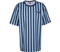 Coral Herren T-Shirt blau türkis gestreift