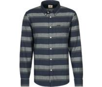 Button Down Langarmhemd blau gestreift
