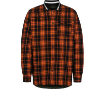 Quilted Flannel Shirt Doppeljacke Herren orange schwarz kariert