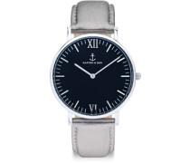 Campina Black Silver Metallic Leather Uhren Uhr silber silber
