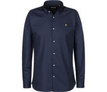 lim Fit Poplin Langarmhemd blau