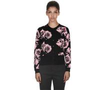 Rose Print W Cardigan schwarz pink