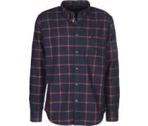Button Down Langarmhemd blau rot kariert