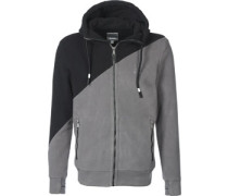 Core Fleece Colorblock Hooded Zipper grau schwarz