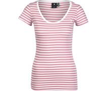 Base Stripe Slim Damen T-Shirt weiß pink gestreift