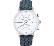 Chrono Silver Uhr silber blau