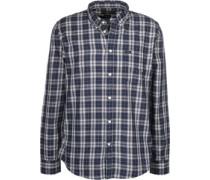 Button Down Langarmhemd blau kariert