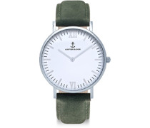 Campina Silver Pine Green Suede Leather Uhren Uhr pine green suede pine green suede