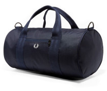 Checked Twill Barrel Tasche blau