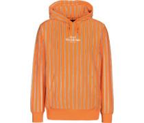 utter tripe Hoodie orange grau getreift