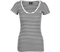 Base Stripe Slim Damen T-Shirt weiß schwarz gestreift
