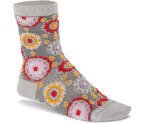 Bling Flower Damen Socken grau meliert