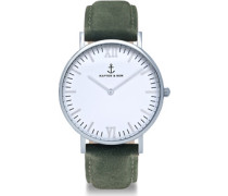Campus Silver Pine Green Suede Leather Uhr pine green suede