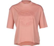 Embossed Cp Mock Neck W T-Shirt Damen rot EU