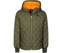 Quilted Poly Puffer Kunstfaserjacke oliv