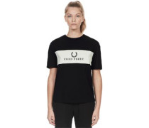 Embroidered Panel W T-Shirt schwarz