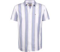 triped Oxford Herren Kurzarmhemd blau weiß getreift