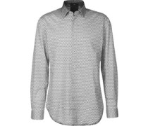 Core Langarmhemd weiß chwarz