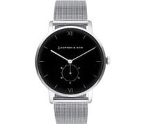 Heritage Silver Black Mesh Uhr