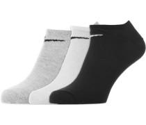 No Show 3er Pack Socken schwarz grau weiß