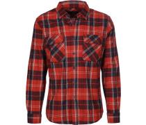 Bowery Lw L/s Flannel Herren Langarhed rot blau