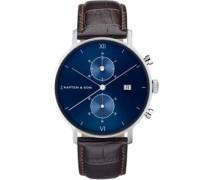 Chrono Silver Uhr blau braun