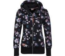Neska Zip Flowers Hooded Zipper Damen schwarz