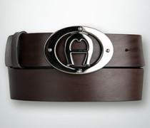 Gürtel Ledergürtel mit Logo-Schließe
