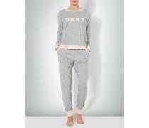 Nachtwäsche Pyjama mit Kontrastbündchen