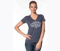 T-Shirt, Baumwolle, navy meliert