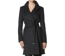 Mantel, Wollmischung, dunkel