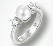 Schmuck Ring mit Perle und Zirkonia