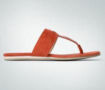 Schuhe Zehensandale in Veloursleder und Lack