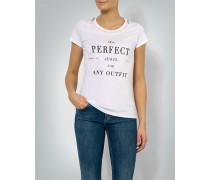 T-Shirt mit Perlen und Kristallsteinen