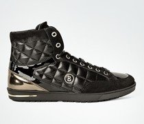Schuhe Sneaker aus gestepptem Leder mit modischen Lack-Details