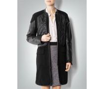 Mantel im Leder-Schurwolle