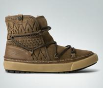 Schuhe Stiefelette in bedrucktem Veloursleder