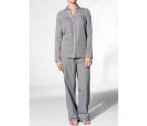 Nachtwäsche Pyjama, Baumwolle, -weiß