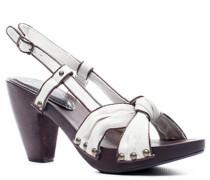 Schuhe Sandalette, Holz-Kalbleder-Canvas, silk