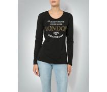 T-Shirt Longsleeve mit Front-Druck im Metallic Look