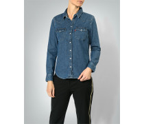 Jeansbluse im cleanen Look