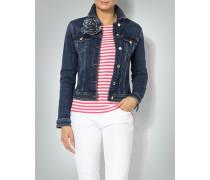 Jeansjacke mit Blütenaccessoire