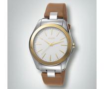 Uhr Uhr aus Edelstahl mit Lederarmband