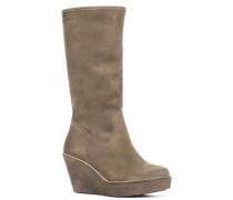 Schuhe Stiefel, Veloursleder, taupe