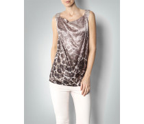 Bluse Top aus Seide mit Animal-Print