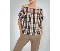 Off-Shoulder-Bluse im Karo-Dessin