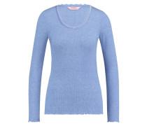 Langarm-Top, gerippt R-neck Blau